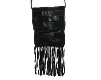 Vintage 80s 90s Black Leather Patchwork Fringe Flap Crossbody Bag