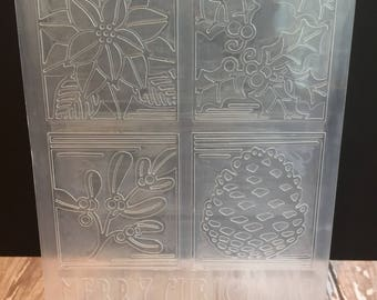 embossing folder, christmas embossing folder, winter embossing folder, destash, sizzix embossing folder, cuttlebug embossing folder