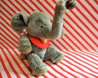 "Steiff Vintage Elephant ""Jumbo"" ID Handmade German Antique Toy Collectible 3x Jointed Safari Stuffed Animal Doll Bear xCond."