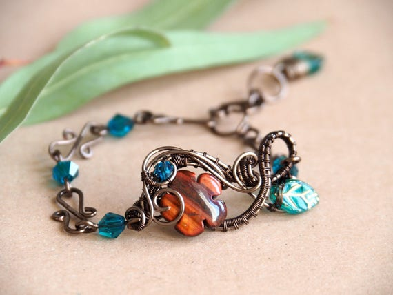 Wire wrapped bracelet Gemstone Bohemian Antique brass Nature jewelry Gift for women Flower Beaded Handmade chain Leaf peacock blue Tiger eye