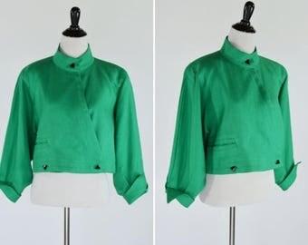 SUMMER SALE Vintage 1980's Green Cropped Long Sleeve Blazer - 80's Wrap around short Jacket - ladies size medium to large