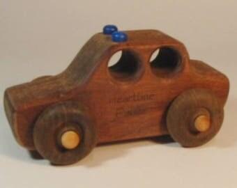 Heirloom-Quality Hardwood Toy Police Car