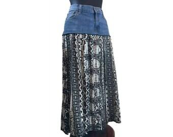 Hippie Skirt, Upcycled Clothing, Upcycled Denim Skirt, Boho Skirt, Maxi Skirt, OOAK Denim Skirt, Gypsy Skirt, Refashioned Denim Skirt