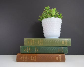Vintage Milk Glass Planter // Fire-King Style Hobnail Retro Scalloped Edge Flower Pot Wide Vase Trinket Dish Wedding Decor Centerpiece