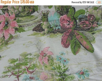 40% OFF Vintage 40s or 50s Drapery Fabric Pink Flowers Pomegranates Green Leaves Nubby Fabric Shiny Back - 1 Yard Plus - MSF0905