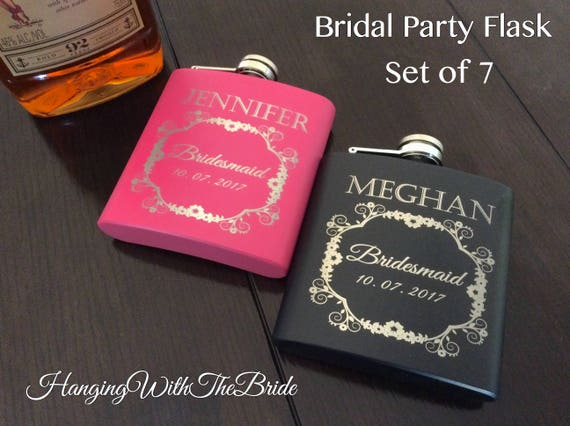 Personalized Flask Bridesmaid Gift set of 7 - Gifts for Bridesmaid - Laser Engraved Flask - Custom Flask Set for Bridesmaid