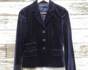 Velvet Jacket Navy Blue Blazer Women's Size 4 Four Holiday Fashion Cotton Velvet 1980s Lined Single Breasted Style Context Label Christmas