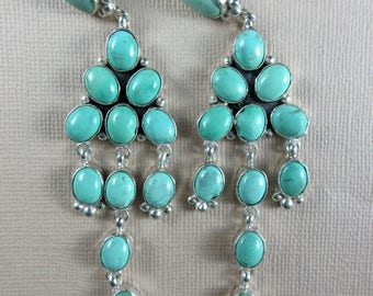 Navajo~Jacqueline Silver~Mint Green Turquoise Cluster Dangle 925 Earrings