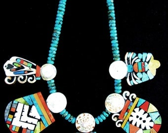 "Ke-wa Pueblo~""Folk Art Artist~""MARY TAFOYA""~ 5 Panel~Whimsical Mosaic Necklace"