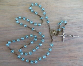 Vintage blue glass crystal rosary beads