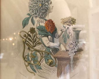 Grandville French Dahlias Antique Steel Engraving Litho Botanical Gothic Victorian Garden Edwardian Boho Steampunk Les Fleurs Animees 1847