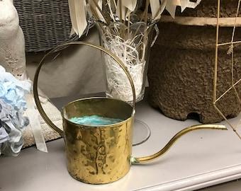 Watering Can Vintage Garden Brass African Violet Mid Century Garden Houseplant House Plants 50s 60s Aqua Verdigris