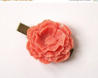 SUMMER SALE Coral Pink Flower Clip Vintage Style Beautiful Large Hair Clip Antique Bronze Tone for Adults Formal Girls Wedding Bridesmaids
