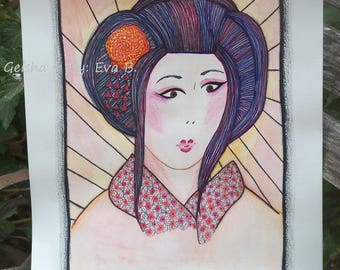 Geisha Painting Drawing Art Watercolor Ink Pencil Portrait of Beautiful Black Haired Woman Unframed Artwork on Paper