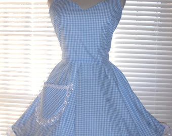 Costume Apron Dorothy Apron-Sexy Retro Apron Blue and White Gingham Full Circular Skirt - Ready to Ship