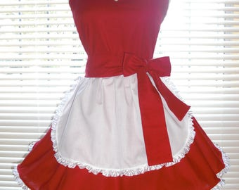 French Maid Apron Pin-up Retro Style Red and White Flirty Skirt Sweetheart Neckline