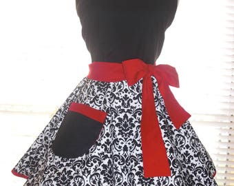 PLUS SIZE Retro Apron Diner Apron Black and White Damask with Red Accents Extra Wide Circular Flirty Skirt Full Figure Size 20-22