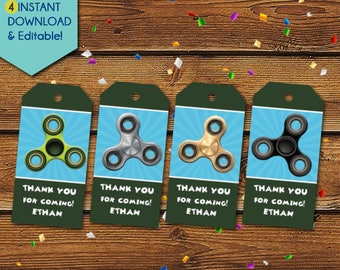 Fidget Spinner Thank You Tags,  Fidget Spinner Party Favors, Fidget Spinner Favor Tags, Fidget Spinner Birthday Tags, Hand Spinner Gift Tags