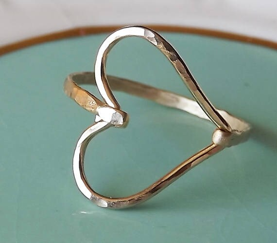 Hammered Sideways Heart Gold Filled Ring Heart Ring Gold