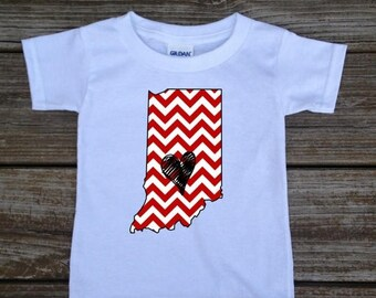 SALE Indiana Baby Toddler Children Kids Love Boy Girl T-shirt or Bodysuit - Your Choice of Any State and Colors