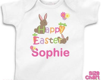 SALE Personalized Easter Bunny Rabbit Carrots Flowers Baby Girl T-shirt or Bodysuit Birthday 1st First Easter Shirt - Shirts in White, Pink,