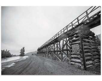 Western Wall Art 'Old Railroad Bridge' by Meirav Levy - Bridges Decor Black & White Photography on Metal or Plexiglass