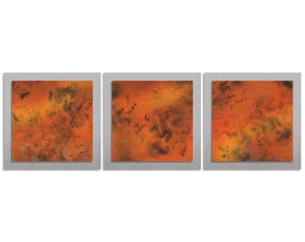 Metal Wall Artwork 'Molten Essence' - 38x12 in. - Contemporary Décor - Modern Lava Red & Silver Decor