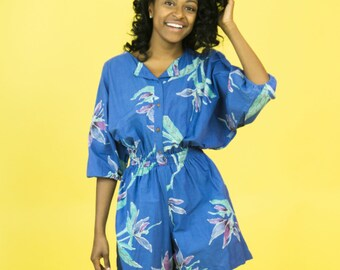 Vintage 80s Print Romper, 1980s Botanical Romper, 80s blue Jumpsuit, 80s Pattern Romper, 80s Floral Jumpsuit, 1980s oversized top romper