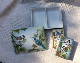 Playing Card Box with hand painted birds with two matching decks of cards