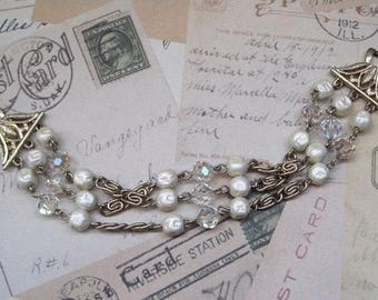 Three Strand Baroque Pearl and Crystal Bead Bracelet, Vintage Jewelry, Signed Coro, 1950's, Mid-Century