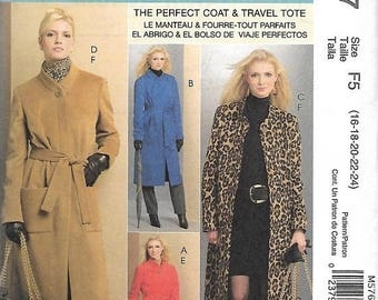 ON SALE McCall's 5767 Misses Lined Coat In Three Lengths, Belt And Totes Sewing Pattern, 16-24, UNCUT