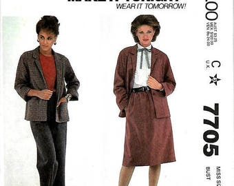 ON SALE McCall's 7705 Make It Tonight Jacket, Skirt And Pants Pattern, 8, 10, 12 & 14, UNCUT
