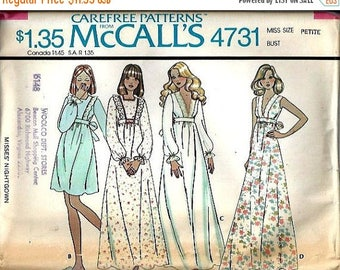 ON SALE VTG McCall's 4731 Misses V Plunge Nightgown and Pinafore Look Nightgown Pattern, Size Petite, Uncut