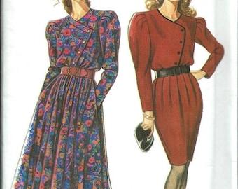 ON SALE New Look 6600 Misses Asymmetrical Bodice Dress Pattern, Flared or Slim Skirt, 8-20 UNCUT