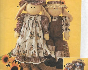 """Simplicity 7142 Elaine Heigl Designs 24"""" Rag Doll Or Bunny And Clothes Sewing Pattern"""