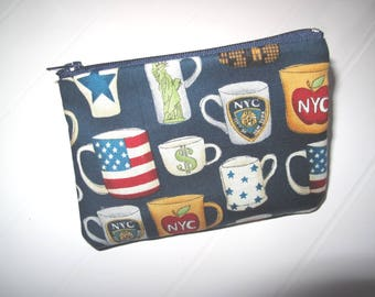 Small clutch bag Purse with American mugs
