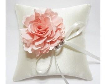 Wedding Ring Pillow - Pink  Bloom on Satin Silk Cream Wedding Ring Pillow, wedding ring bearer pillow