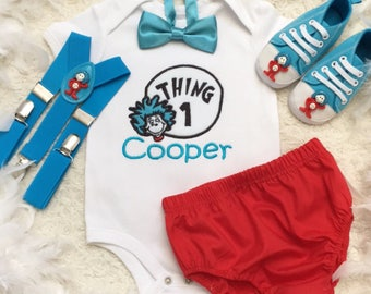 4pcs set - Personalised Dr Suess Thing 1 Thing 2 boys outfit-Include personalised Tops,bottoms