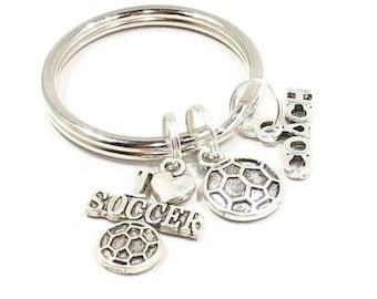 Soccer Keychain Soccer Coach Gift Sports Number Keychain Soccer Mom Gift Keychain Gift for Soccer Coach Love Soccer Gift K121
