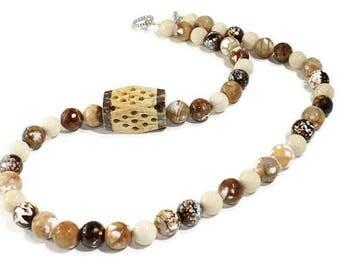 Necklace Brown Agate Necklace Beaded Necklace Gemstone Necklace OOAK Original Necklace