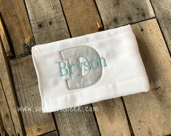Gray & Teal Arrows Burp Cloth With Name Initial