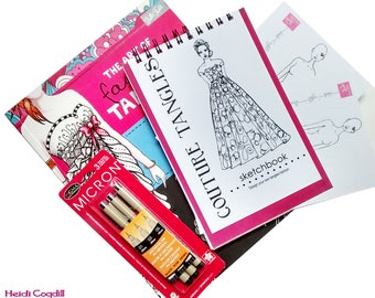 Couture Tangle Sketchbook Kit (includes The Art of Fashion Tangling book, sketchbook and 3 Micron Pens)