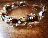 hair crown,  bridal flower crown, Pine cone wedding headpiece, Ready to ship, hair accessories, burgundy, rustic haircrown, dried flowers