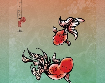Goldfish Koi illustration -Ranchu Goldfish- art print after original art -Free Shipping!!