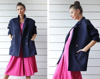 BURBERRYS Vintage navy blue wool double breasted gold button hip length short slouchy coat jacket