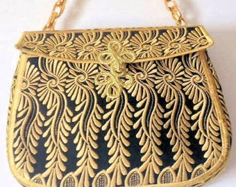 Evening Purse, Black and Gold Evening Purse Embroidered