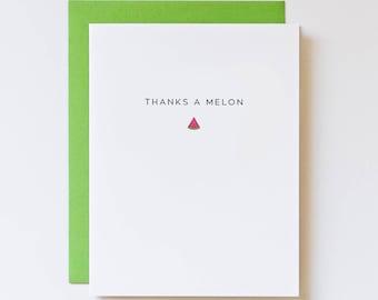 Pun Cards, Thanks a Melon, Thank You Puns, Cards with Food Puns, Food Thank You, Bulk Thank You Cards, Watermelon Thank You, Cute Thank You