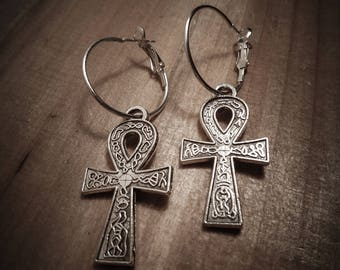 Silver hoop earrings boho chic ♠ ♠ Ankh Egypt