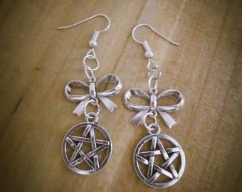 "Silver earrings knot esoteric ""666 Pentagram 666"""