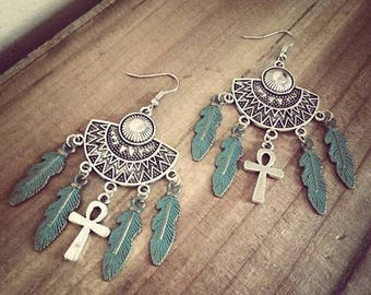 Silver Egyptian Ankh Boho earrings ♠Indian Chic♠